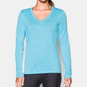 Under Armour   Blue Twist Front V-Neck Long Sleeve